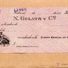 Billetes españoles: CHEQUE. TALON DE N. GELATS Y COMPAÑIA. HABANA. CUBA. HAVANA. AÑOS 1930. ALEGORIA COMERCIO. NUEVO.. Lote 48602302