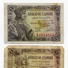 Billetes españoles: 2 BILLETES DE 1 PESETA 1943 Y 1945. Lote 48666148