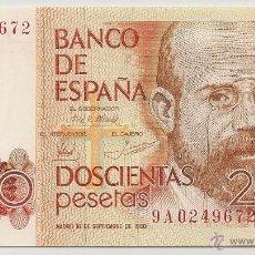 Billetes españoles: 200 PESETAS DE 1980 SERIE 9A-672 PLANCHA (RARO). Lote 48703517