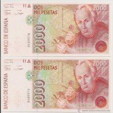 Billetes españoles: 2000 PESETAS DE 1992 PAREJA CORRELATIVA SIN SERIE Y PLANCHA. Lote 48704311