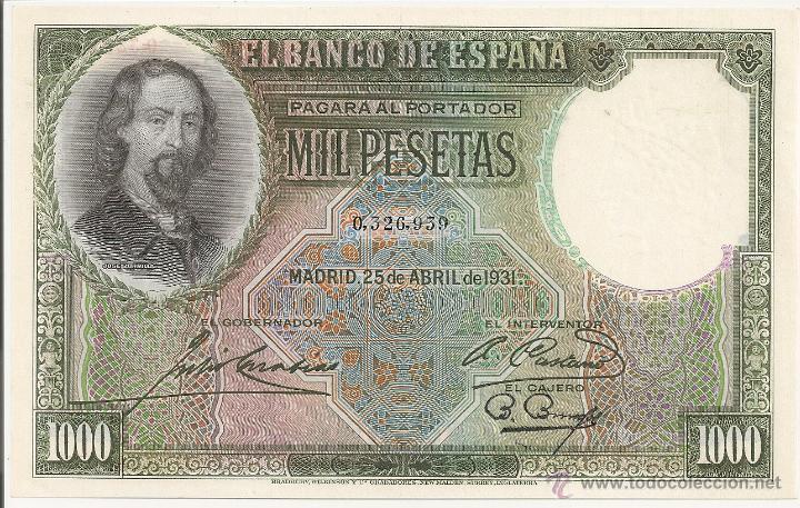 1000 PESETAS DE 1931 SIN SERIE-939 PLANCHA-LUJO (MUY RARO) (Numismática - Notafilia - Billetes Españoles)