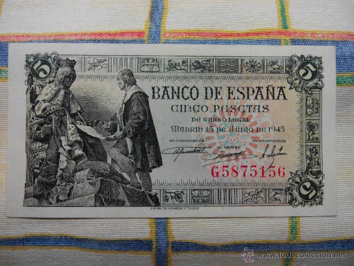 5 PESETAS. 15.06.1.945 CAPITULACIONES. S/C. G Nº 5875156 AUTENTICO DESCRIP. Y FOTOS. (Numismática - Notafilia - Billetes Españoles)