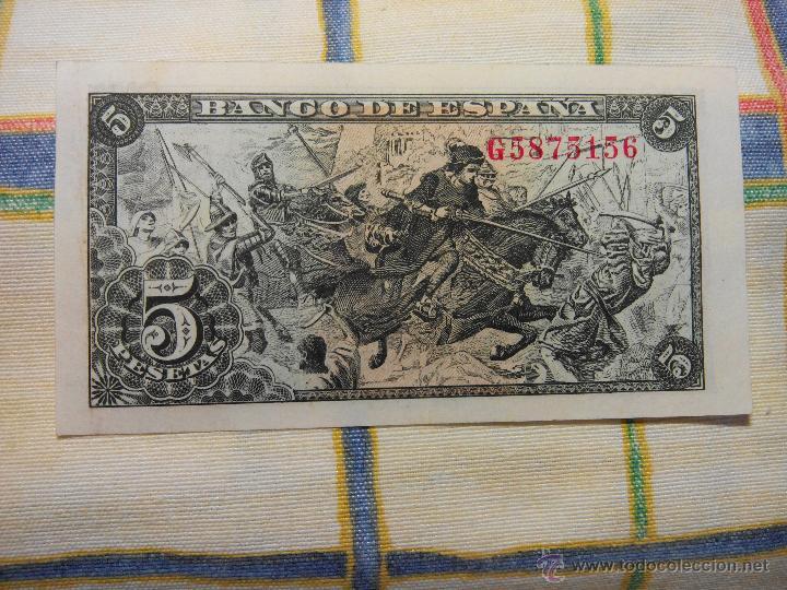 Billetes españoles: 5 PESETAS. 15.06.1.945 CAPITULACIONES. S/C. G Nº 5875156 AUTENTICO DESCRIP. Y FOTOS. - Foto 2 - 49004990