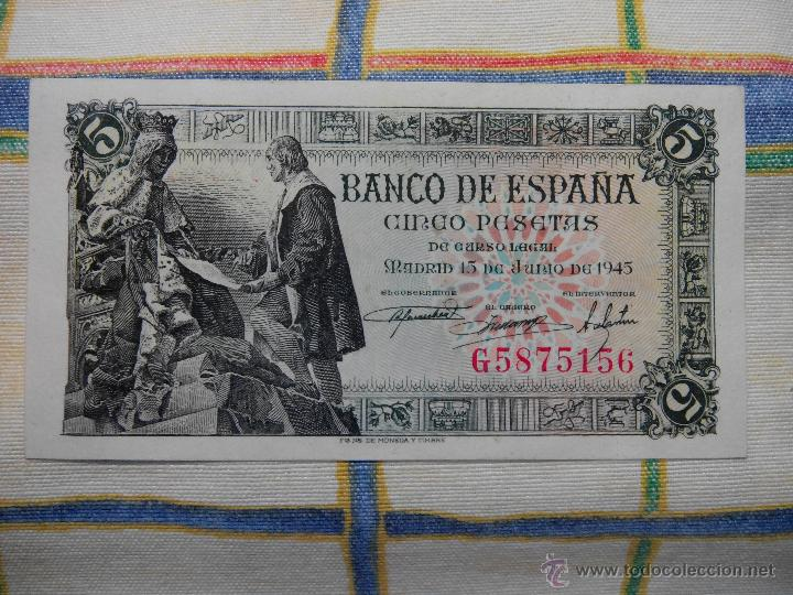Billetes españoles: 5 PESETAS. 15.06.1.945 CAPITULACIONES. S/C. G Nº 5875156 AUTENTICO DESCRIP. Y FOTOS. - Foto 3 - 49004990