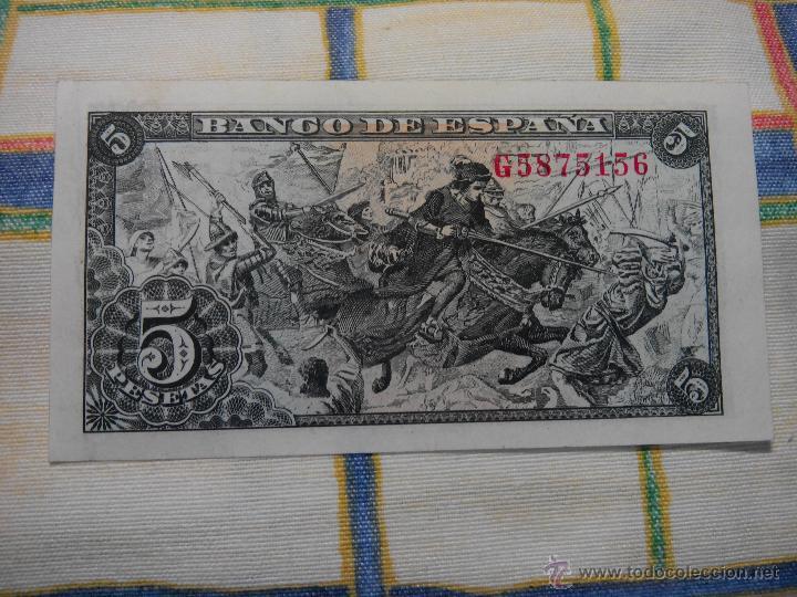 Billetes españoles: 5 PESETAS. 15.06.1.945 CAPITULACIONES. S/C. G Nº 5875156 AUTENTICO DESCRIP. Y FOTOS. - Foto 4 - 49004990
