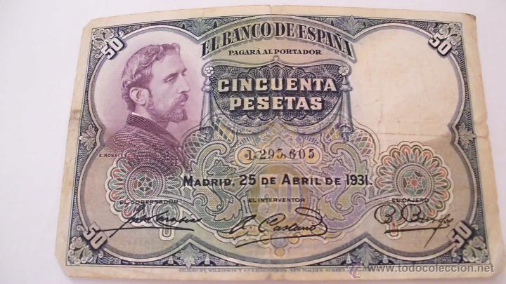 BILLETE DE 50 PESETAS DE LA II REPÚBLICA ESPAÑOLA. UNO DE LOS PRIMEROS BILLETES DEL NUEVO RÉGIMEN (Numismática - Notafilia - Billetes Españoles)