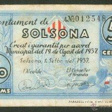 Billetes españoles: BILLETE 50 CÉNTIMOS - AJUNTAMENT DE SOLSONA. Lote 49236712