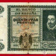 Billetes españoles: BILLETE 500 PESETAS ENERO 1940 , MBC- , SERIE A , ORIGINAL , T794. Lote 49246705