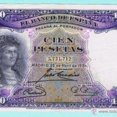 Billetes españoles: BILLETE DE ESPAÑA DE 100 PTAS AÑO 1931 S/C - (102). Lote 49288756