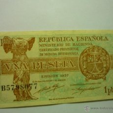 Billetes españoles: BILLETE UNA PESETA -REPUBLICA ESPAÑOLA-MINISTERIO HACIENDA-EMISION 1937--BB. Lote 49357801