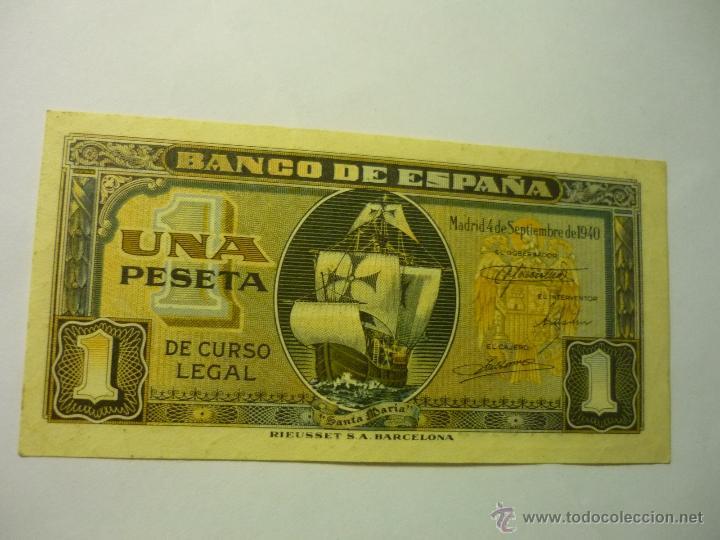 BILLETE BANCO ESPAÑA UNA PESETA .-4-9-1940 --BB (Numismática - Notafilia - Billetes Españoles)