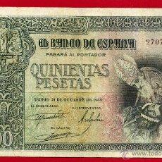 Billetes españoles: BILLETE 500 PESETAS OCTUBRE 1940 , MBC , SIN SERIE , ORIGINAL , T658. Lote 49398854