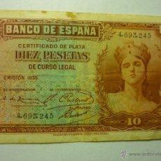Billetes españoles: BILLETE BANCO DE ESPAÑA DIEZ PESETAS.-1935. Lote 49434714