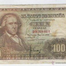 Billetes españoles: BILLETES ANTIGUOS DE ESPAÑA BILLETE BUEN PRECIO OFERTA 100 CIEN PESETAS 2 MAYO DE AÑO 1948 RARO. Lote 49577501