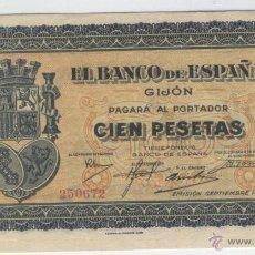 Billetes españoles: BILLETES ANTIGUOS DE ESPAÑA A BUEN PRECIO OFERTA AÑO 1937 GUERRA CIVIL 100 CIEN PESETAS GIJON . Lote 49578757
