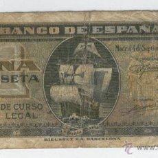 Billetes españoles: BILLETES ANTIGUOS DE ESPAÑA A BUEN PRECIO OFERTA ESPAÑOLES 1 UNA PESETA 4 SEPTIEMBRE DE 1940 COLON . Lote 49578865