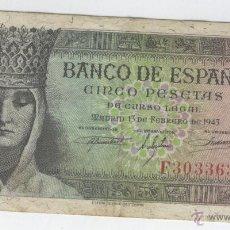 Billetes españoles: BILLETES ANTIGUOS DE ESPAÑA A BUEN PRECIO OFERTA RARO 5 CINCO PESETAS 13 FEBRERO AÑO 1943 COLON . Lote 49579121