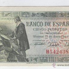 Billetes españoles: BILLETES ANTIGUOS ESPAÑA BILLETE BUEN PRECIO RARO 5 CINCO PESETAS 15 JUNIO DE AÑO 1945. Lote 49579210