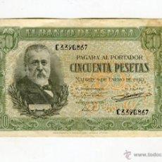 Billetes españoles: 50 (CINCUENTA) PESETAS MADRID 9 DE ENERO DE 1940 SIN ROTURAS. Lote 49609303