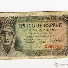 Billetes españoles: 5 (CINCO) PESETAS MADRID 13 DE FEBRERO DE 1943 SIN ROTURAS - SIN SERIE-. Lote 49613022