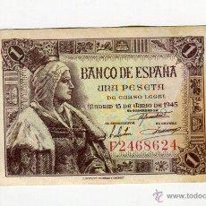Billetes españoles: 1 (UNA) PESETA MADRID 15 DE JUNIO DE 1945 EXCELENTE SERIE F. Lote 110878172