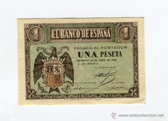 1 (UNA) PESETA BURGOS 30 DE ABRIL DE 1938 II AÑO TRIUNFAL (Numismática - Notafilia - Billetes Españoles)