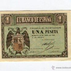 Billetes españoles: 1 (UNA) PESETA BURGOS 30 DE ABRIL DE 1938 II AÑO TRIUNFAL. Lote 49614086