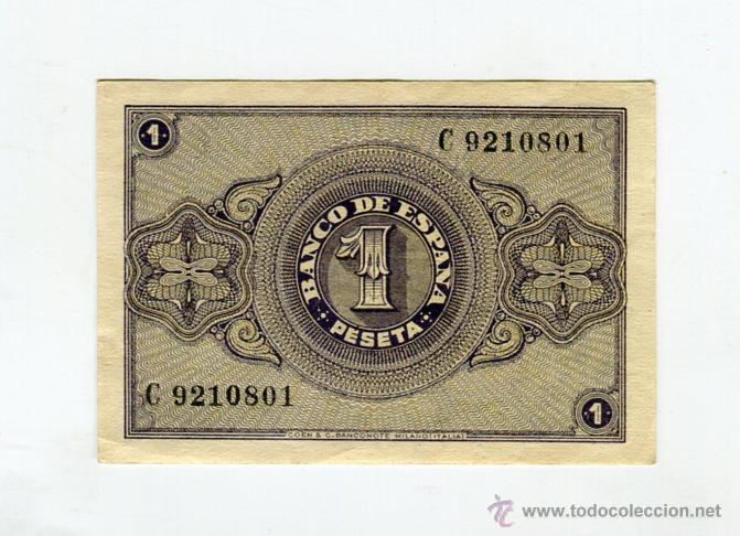 Billetes españoles: 1 (UNA) PESETA BURGOS 30 DE ABRIL DE 1938 II AÑO TRIUNFAL - Foto 2 - 49614086