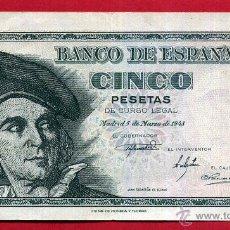 Billetes españoles: BILLETE , 5 PESETAS , 1948 , MBC+ , SERIE F , ORIGINAL , T475. Lote 49618999