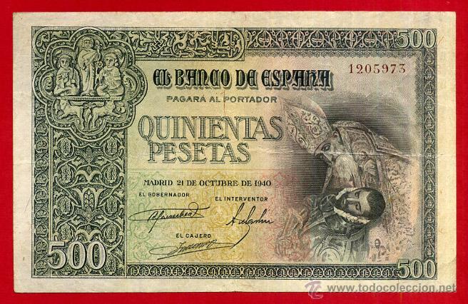 BILLETE , 500 PESETAS OCTUBRE 1940 , MBC , SIN SERIE , ORIGINAL , T973 (Numismática - Notafilia - Billetes Españoles)