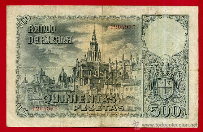 Billetes españoles: BILLETE , 500 PESETAS OCTUBRE 1940 , MBC , SIN SERIE , ORIGINAL , T973 - Foto 2 - 49620333