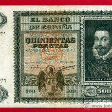 Billetes españoles: BILLETE , 500 PESETAS ENERO 1940 , MBC , SERIE A , ORIGINAL , T971. Lote 49620358