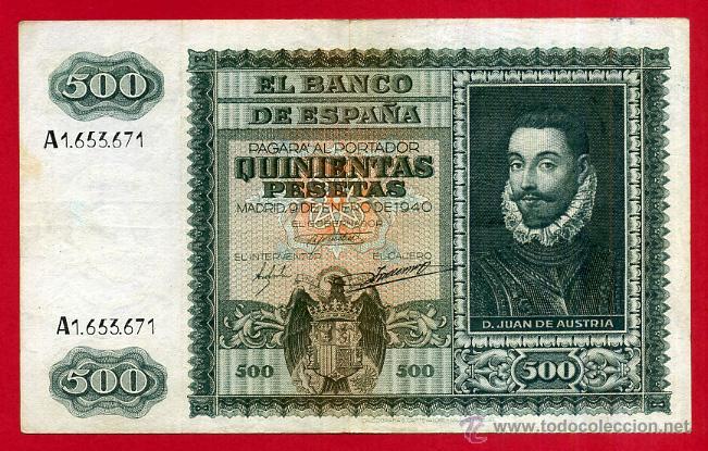 BILLETE , 500 PESETAS ENERO 1940 , MBC , SERIE A , ORIGINAL , T671 (Numismática - Notafilia - Billetes Españoles)