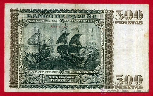 Billetes españoles: BILLETE , 500 PESETAS ENERO 1940 , MBC , SERIE A , ORIGINAL , T671 - Foto 2 - 49620379