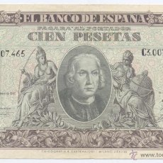 Billetes españoles: 100 PESETAS- 09-01-1940-SC-. Lote 49637775