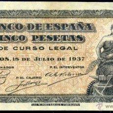 Billetes españoles: 5 PESETAS BURGOS 1937 - SERIE C - S/C . Lote 49840385