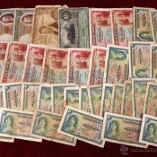 Billetes españoles: LOTE DE 39 BILLETES ESPAÑOLES DE DIFERENTES AÑOS Y UNO DE 10 PESOS DE LA ISLA DE CUBA. Lote 49871586