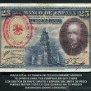 Billetes españoles: 25 PESETAS DE 1928 SELLO ROJO DE LA FALANGE ESPAÑOLA DE JOSE ANTONIO PRIMO DE RIVERA - Nº2. Lote 154344526