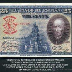 Billetes españoles: 25 PESETAS DE 1928 SELLO FRANQUISTA SALUDO A FRANCO ¡ARRIBA ESPAÑA! Y BUSTO DE FRANCO ROJO - Nº2. Lote 115260982