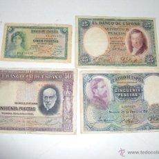 Billetes españoles: 4 BILLETES DE LA II REPUBLICA. Lote 50205852