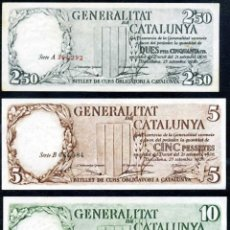 Billetes españoles: PRECIOSA SERIE COMPLETA 3 VALORES 2,50 - 5 Y 10 PESETAS GENERALITAT DE CATALUÑA - EBC/EBC+ DE ORIGEN. Lote 50215527