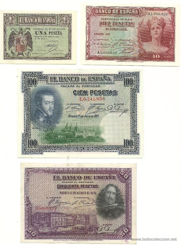 LOTE 4 BILLETES (Numismática - Notafilia - Billetes Españoles)