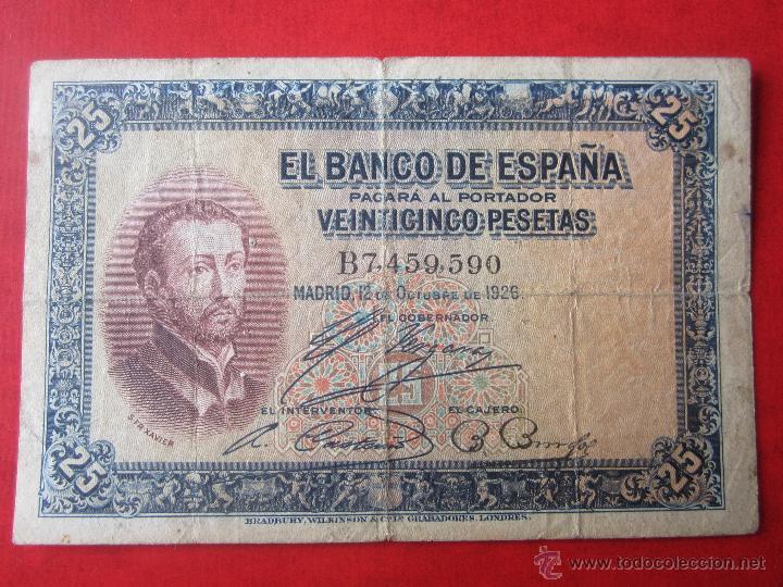 BILLETE ESPAÑOL DE 25 PESETAS. 1926 (Numismática - Notafilia - Billetes Españoles)