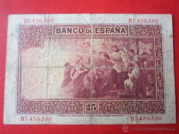Billetes españoles: Billete español de 25 pesetas. 1926 - Foto 2 - 50463490