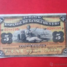 Billetes españoles: BILLETE DE 5 PESOS. BANCO ESPAÑOL DE LA ISLA DE CUBA. 1896. Lote 50481032