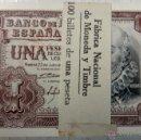 Billetes españoles: LOTE 100 BILLETES DE 1 PESETA 1953 , PLANCHA , EN TACO BANCO DE ESPAÑA , SERIE 1G ULTIMA, SERIE. Lote 51641909