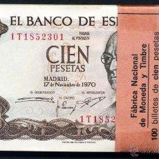 Billetes españoles: TACO COMPLETO DE 100 BILLETES CORRELATIVOS DE 100 PESETAS DE 1970. Lote 52157689