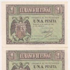 Billetes españoles: 1 PESETA DE 1938 ABRIL SERIE I, PAREJA CORRELATIVA PLANCHA. Lote 51256994