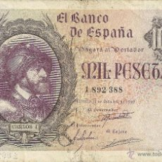 Billetes españoles: 1000 PESETAS 1940 - CARLOS I. Lote 46220558