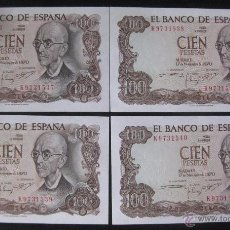 Billetes españoles: 100 PESETAS 1970 FALLA SERIE K 4 BILLETES CORRELATIVOS. Lote 51816906